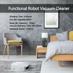 Costway Robot Vacuum Cleaner Self-Charge App Voice Control Filter Water Tank White Thumbnail