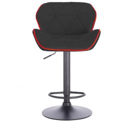 Modern Home Luxe Spyder Contemporary Adjustable Barstool/Bar Chair with 360° Rotation (Black Base, Black/Red Piping) Thumbnail