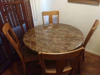 Wood dining room table set 4 wood chairs Thumbnail