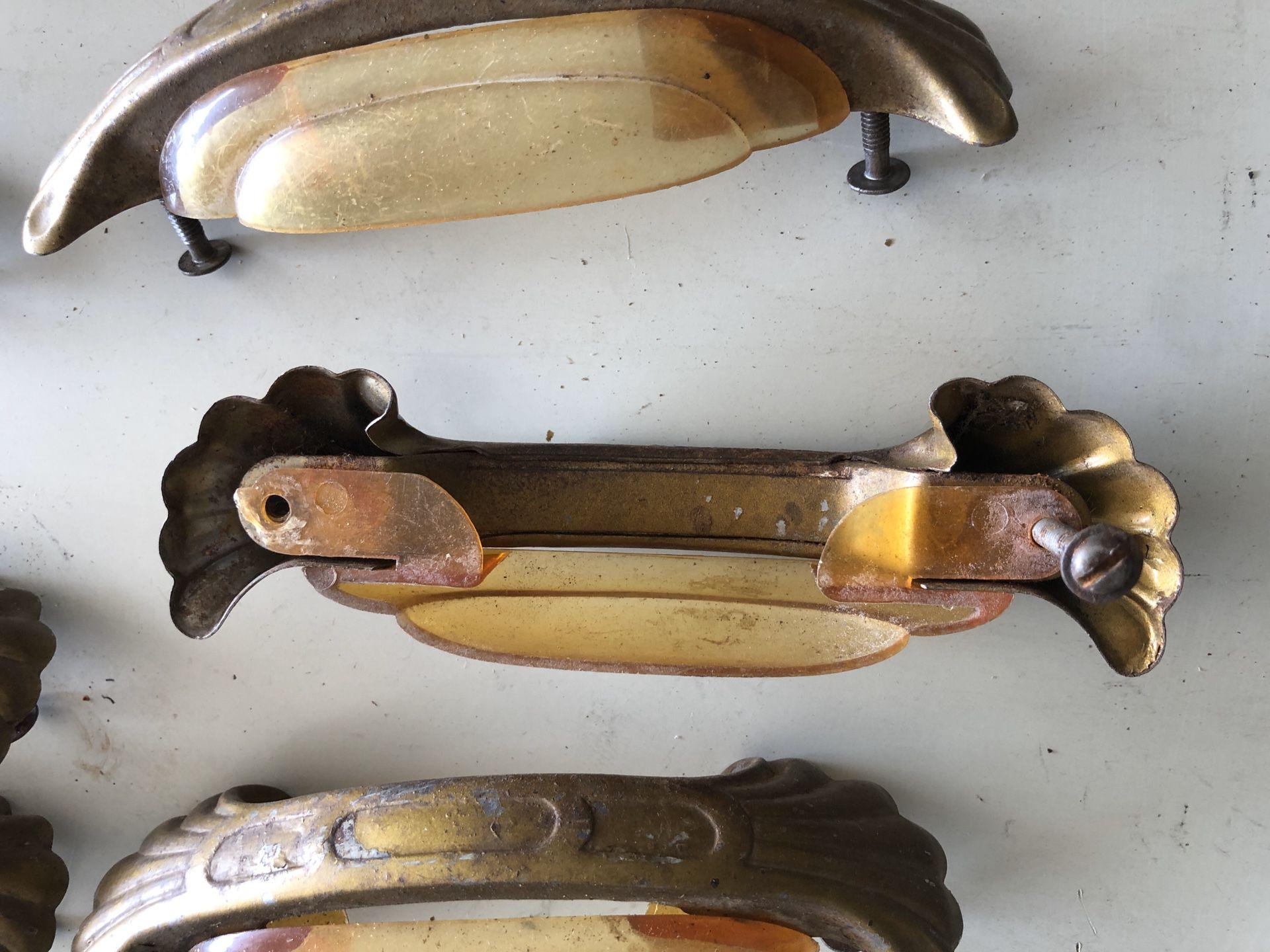 Antique Waterfall Dresser Brass Bakelite Handles