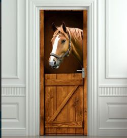 "3D Horse Barn Western Door Sticker .Self Adhesive Waterproof 30x79"" Thumbnail"