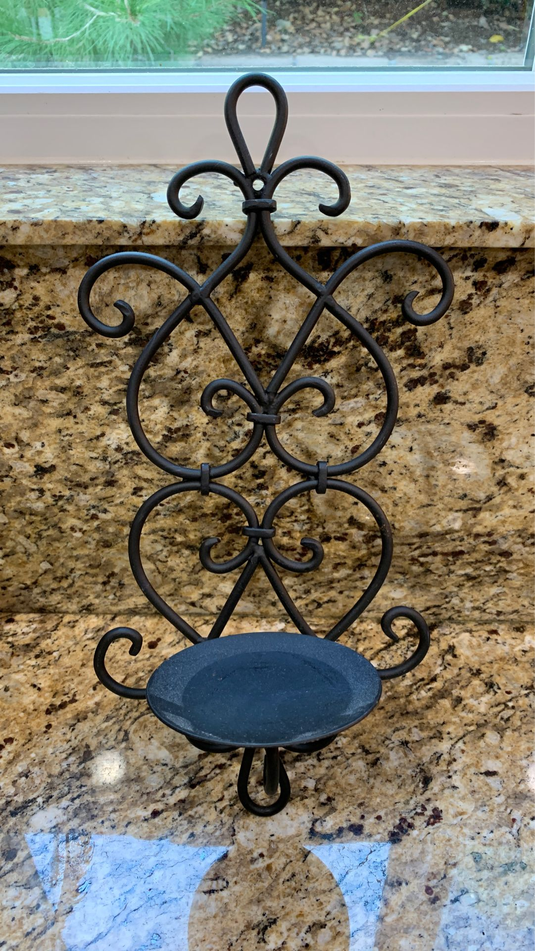 Black iron, candle holder wall sconce