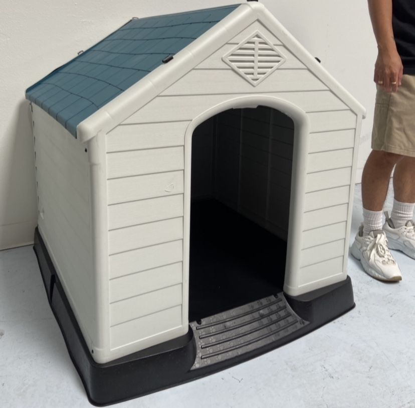 """X-Large Dog House ~ Brand New ~ Blue Roof ~ Outdoor Or Indoor ~  40"""" L x 36"""" W x 40"""" H ~ Dog Cat Pet Crate Cage House Bed"""