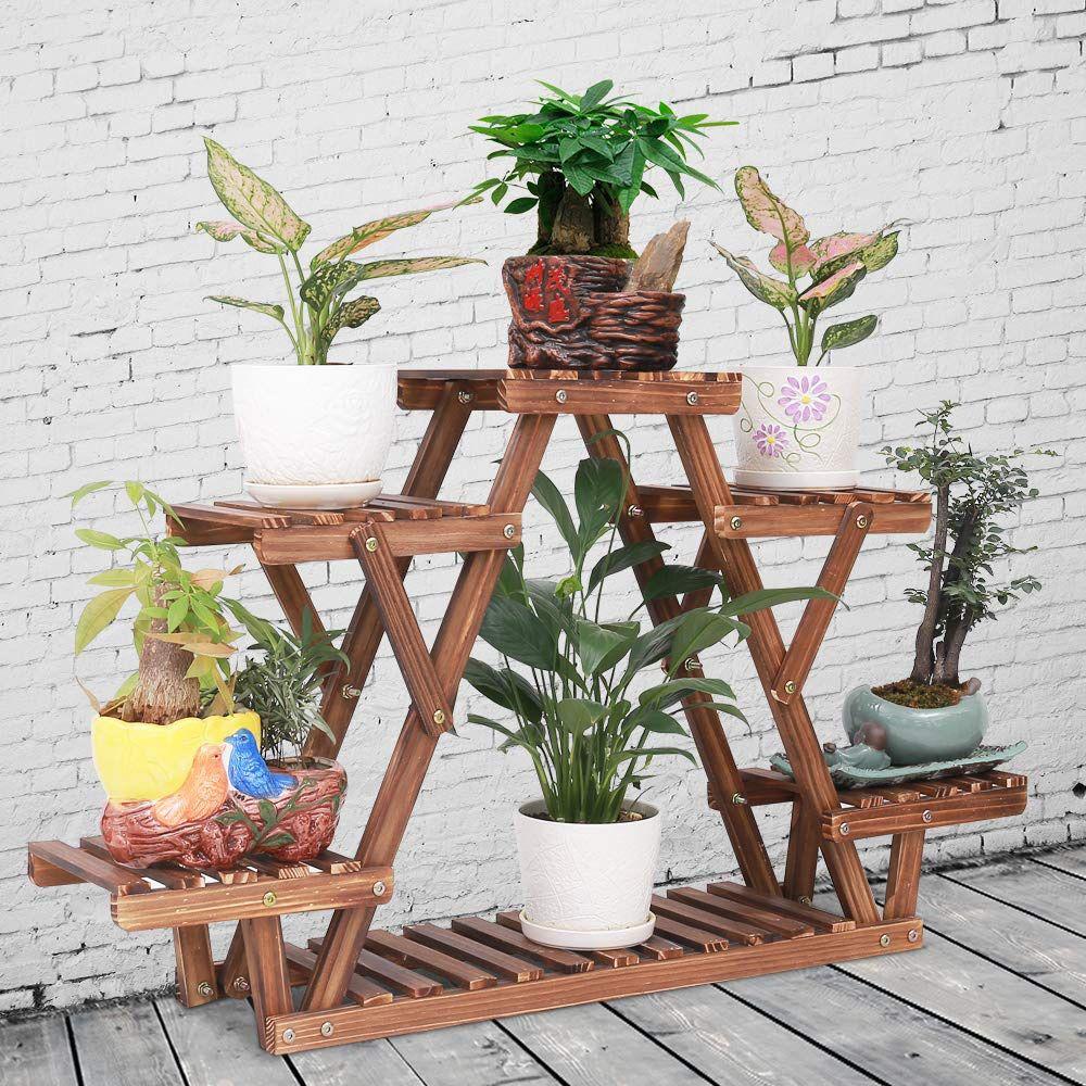 Pine Wood Plant Stand Indoor Outdoor Carbonized Triangle 6 Tiered Corner Plant Rack Shelf Holder for Balcony Garden Flower Pot Storage Organizer (Upgr