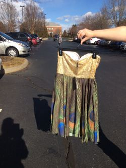Gold Sequin Peacock party dress Thumbnail