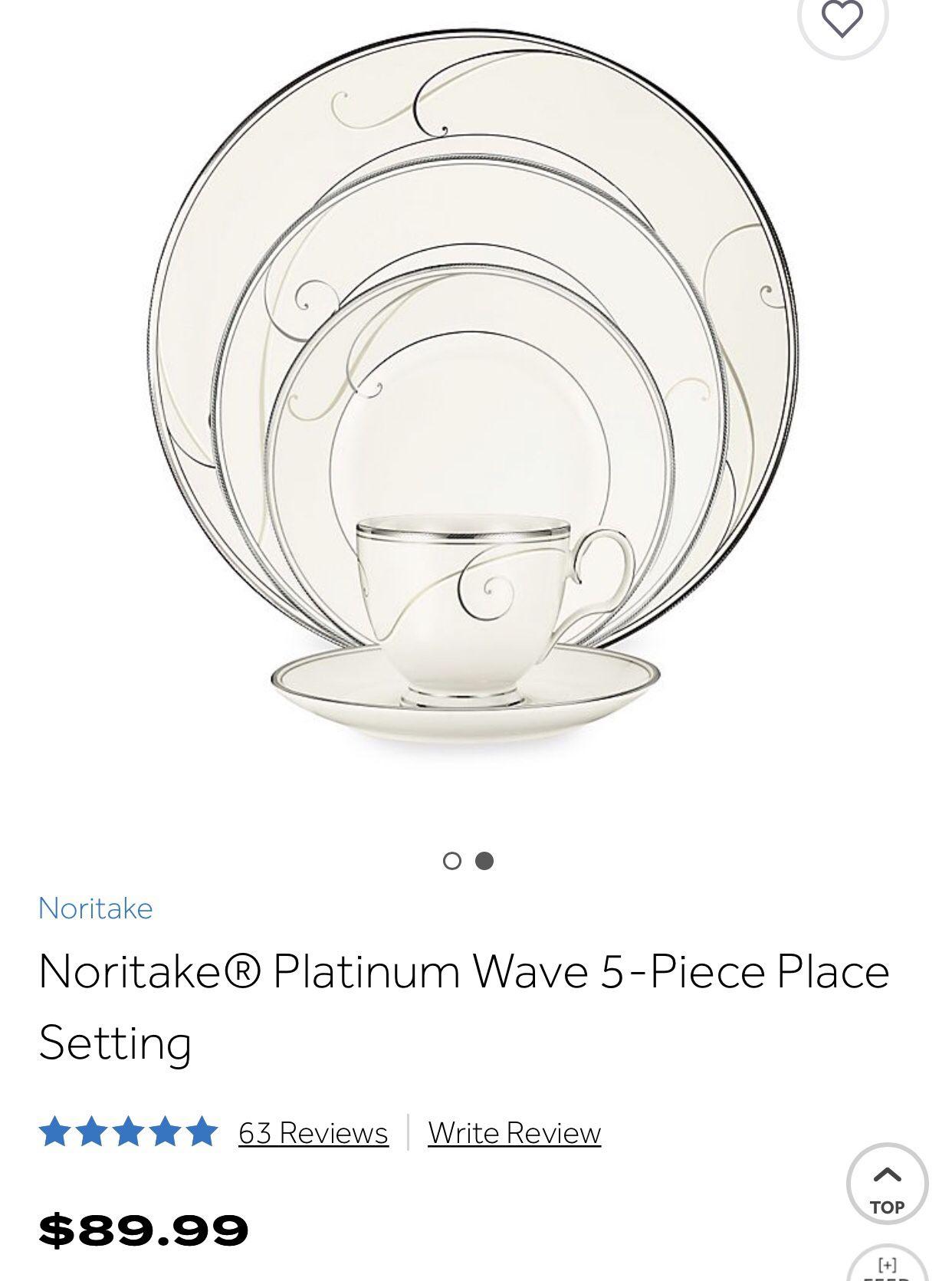 3 place settings Noritake Platinum Wave