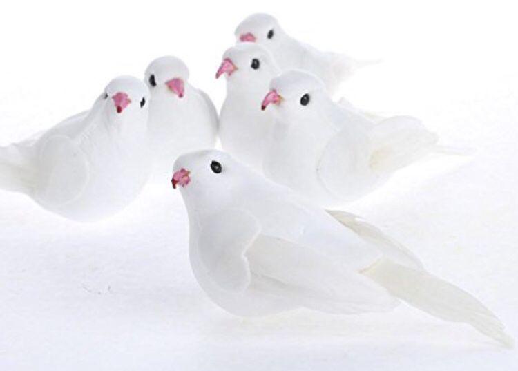 Group of 12 White Sweet Artificial Mushroom Dove Birds