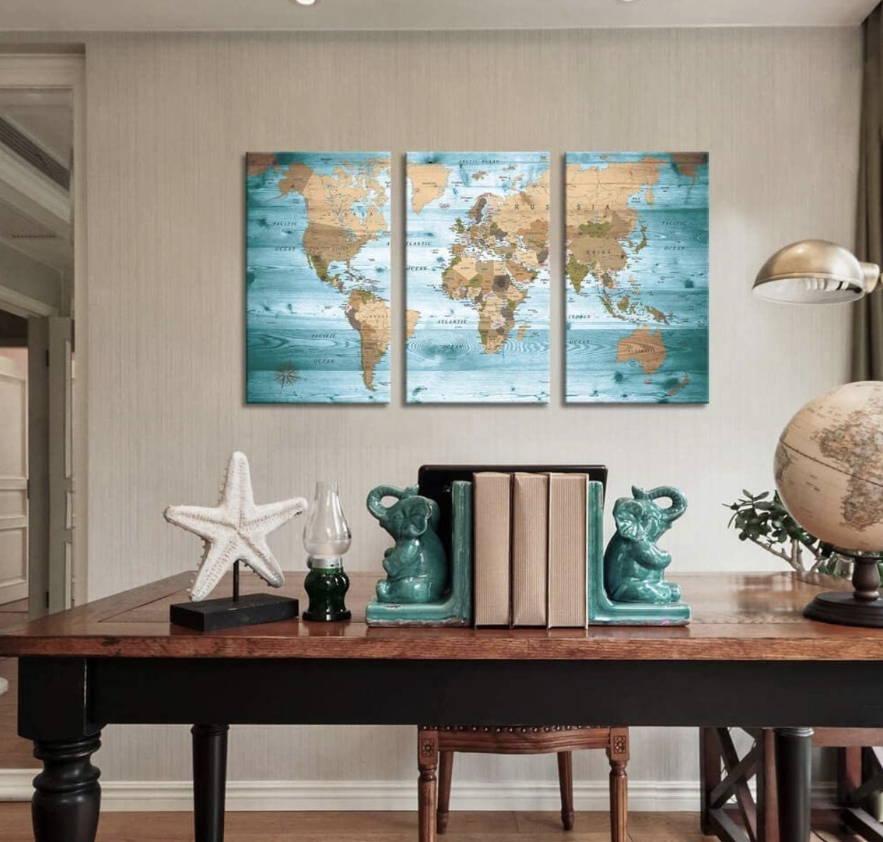 Brand New   World Map Wall Art Vintage Photos Nautical Decor Canvas Art Wall Decor/3 Pieces Large Modern Framed Wall Art Map of The World Canvas Prin