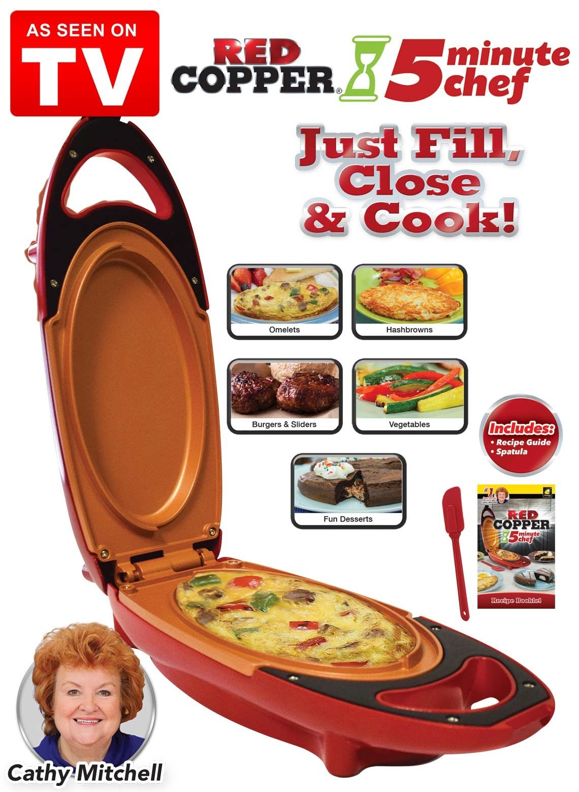Red copper 5 minute chef electric meal maker