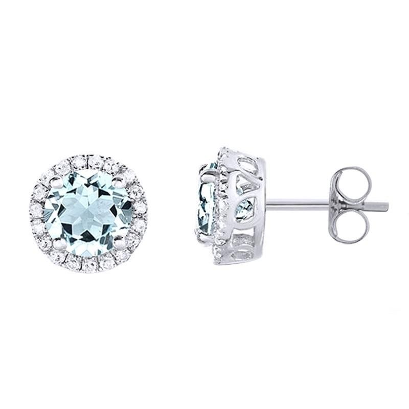 14K White Gold Round Cut Aquamarine & 1/8 Ct Natural Diamond Stud Earrings