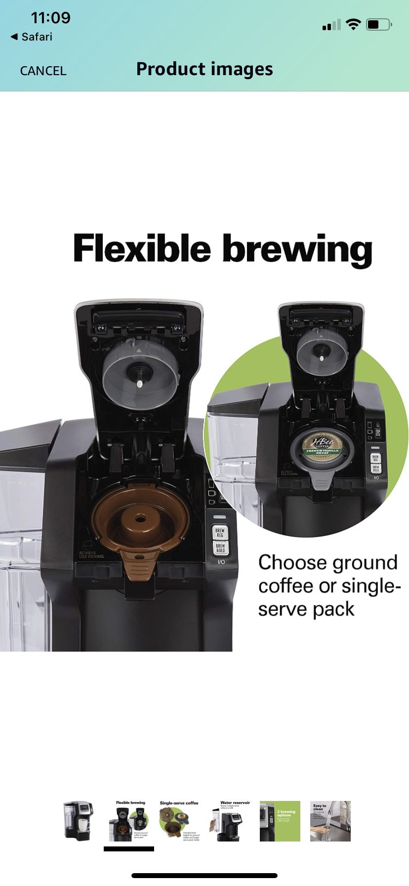 Hamilton Beach 49975 FlexBrew Single Serve Maker with 40 oz. Reservoir, Compatible with K-Cup Packs or Ground Coffee, 3