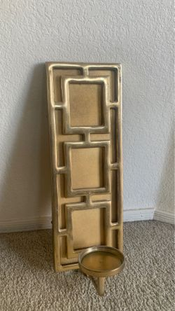 Gold metal candle holder -wall decor Thumbnail