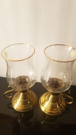 Brass and Crystal Candle Holder Thumbnail
