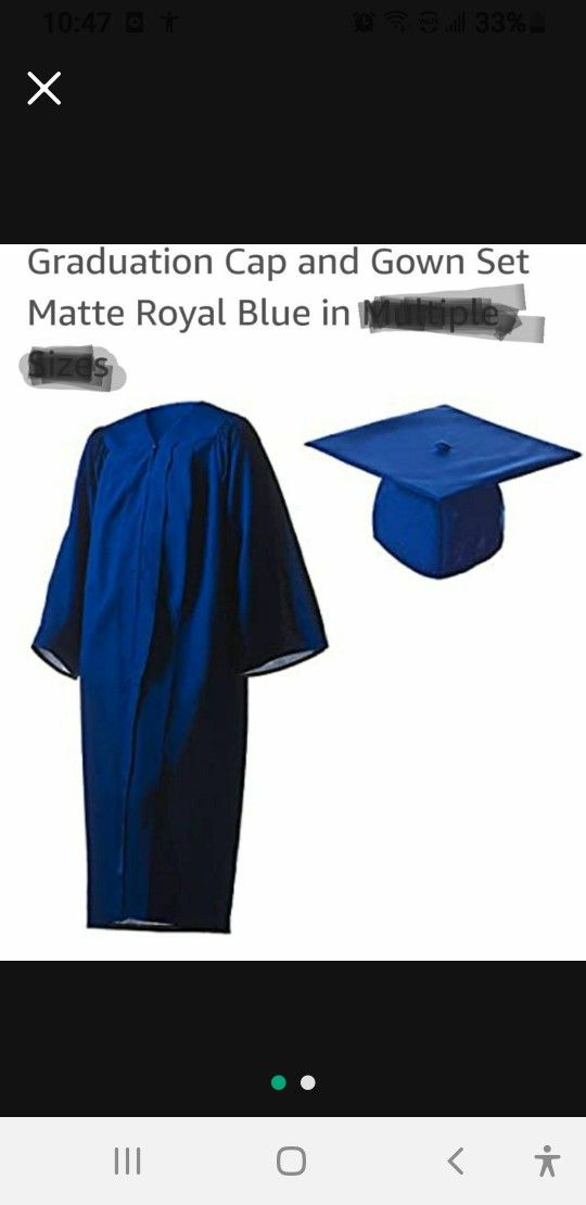 Graduation gown for high school dark blue one-size-fits-all