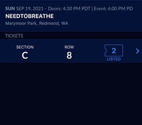 NEEDTOBREATHE, 2 Tickets Section C Row 8, Marymoor Park Thumbnail