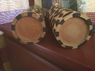 TWO WOODEN LEOPARD PILLAR CANDLE HOLDERS Thumbnail
