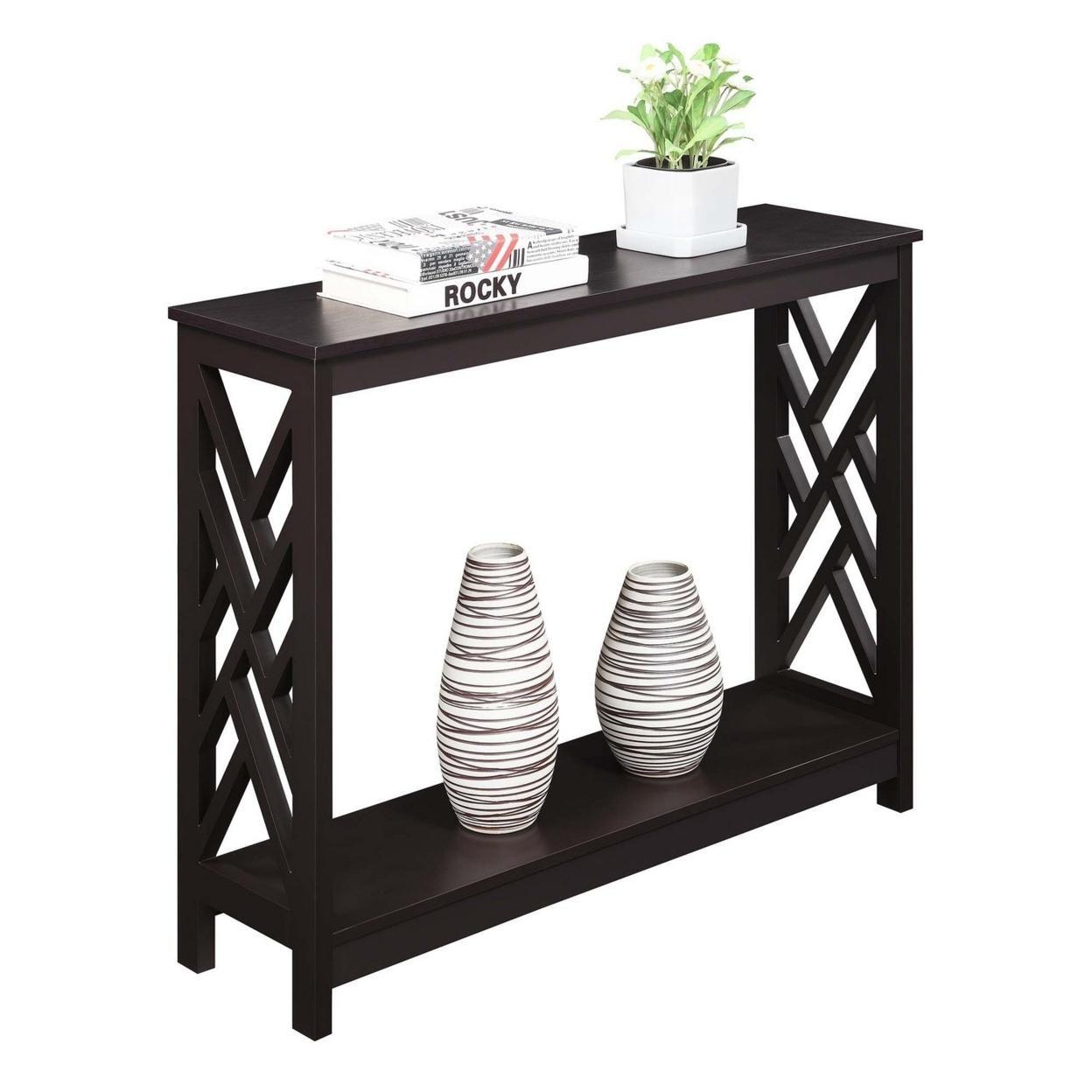 Titan Console Table with Shelf, Espresso