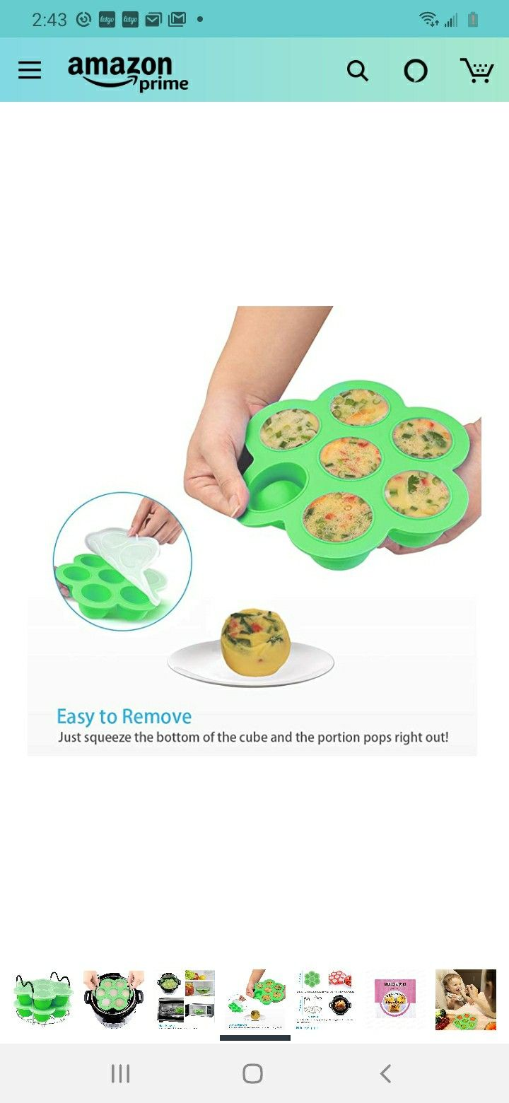 PRAMOO Silicone Egg Bites Molds and Steamer Rack Trivet with Handles for Instant Pot Accessories, 3pcs/set for 6qt & 8qt Electric Pressure Cooker