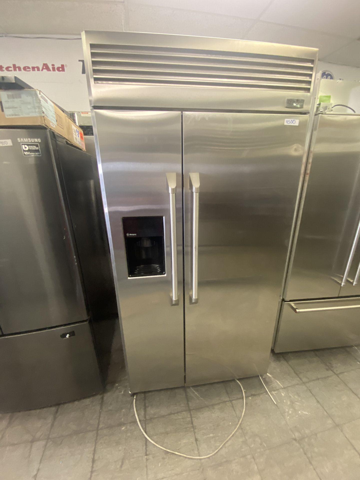 "42"" Ge Monogram Built In Side By Side Refrigerator"