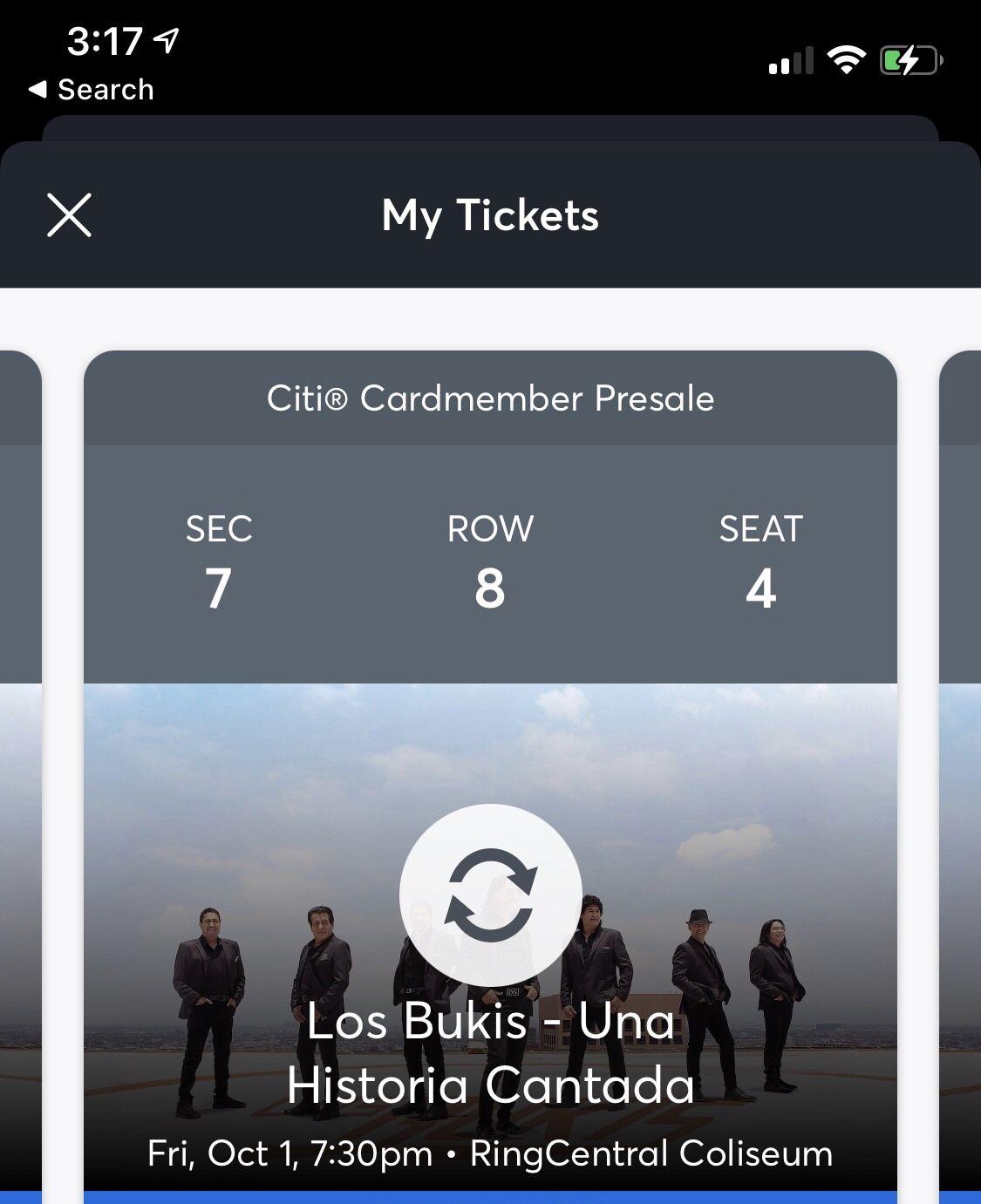 2 Boletos En Frente Los Bukis Oct. 1 $220cu