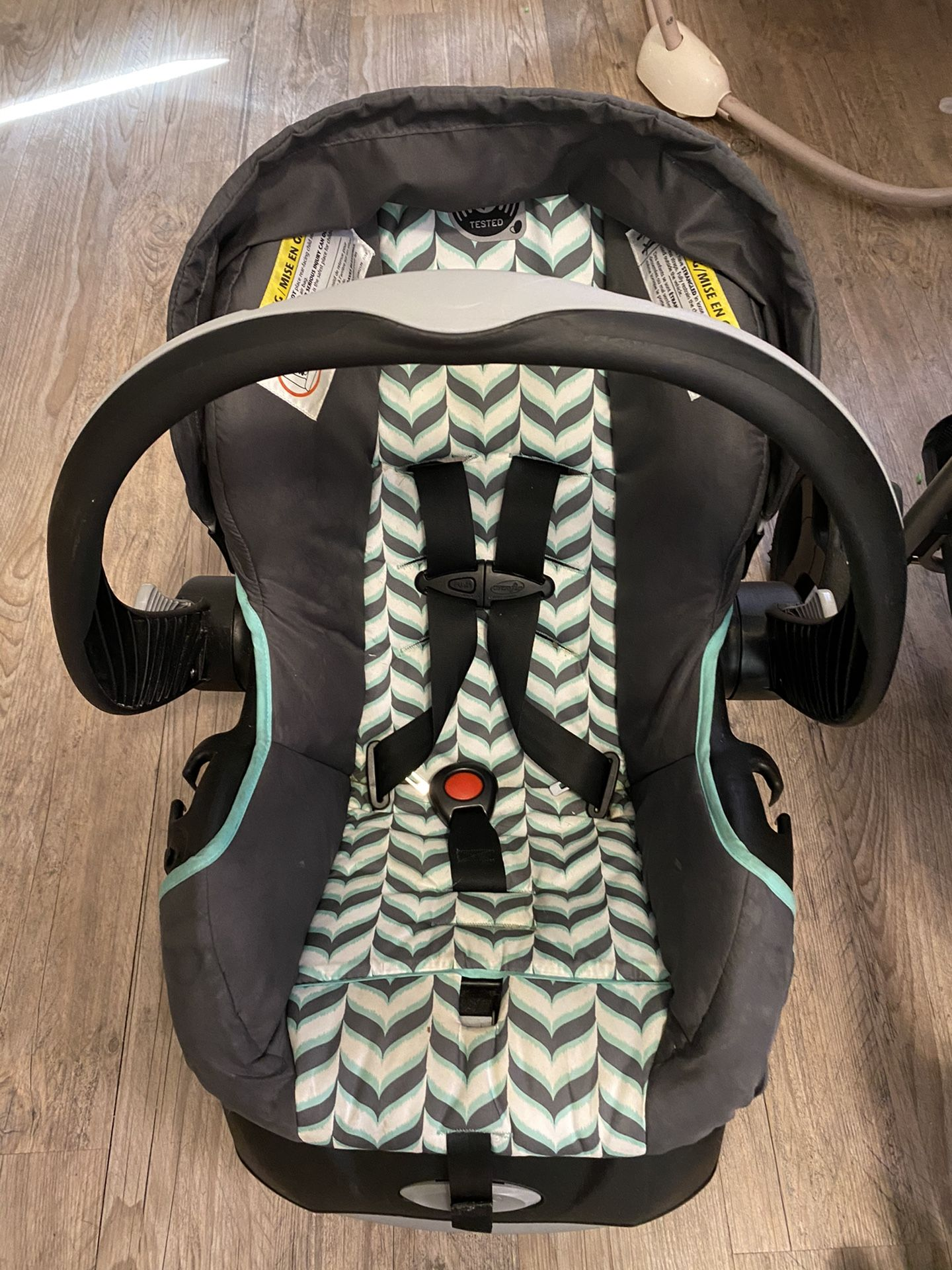 Evenflo car seat, base and stroller