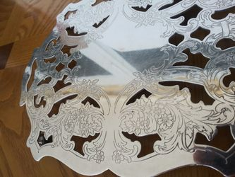 "Silver metal trivet pot holder by Crescent - 4 legs - 6 3/4"" x 9"" Thumbnail"