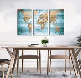 Brand New   World Map Wall Art Vintage Photos Nautical Decor Canvas Art Wall Decor/3 Pieces Large Modern Framed Wall Art Map of The World Canvas Prin Thumbnail