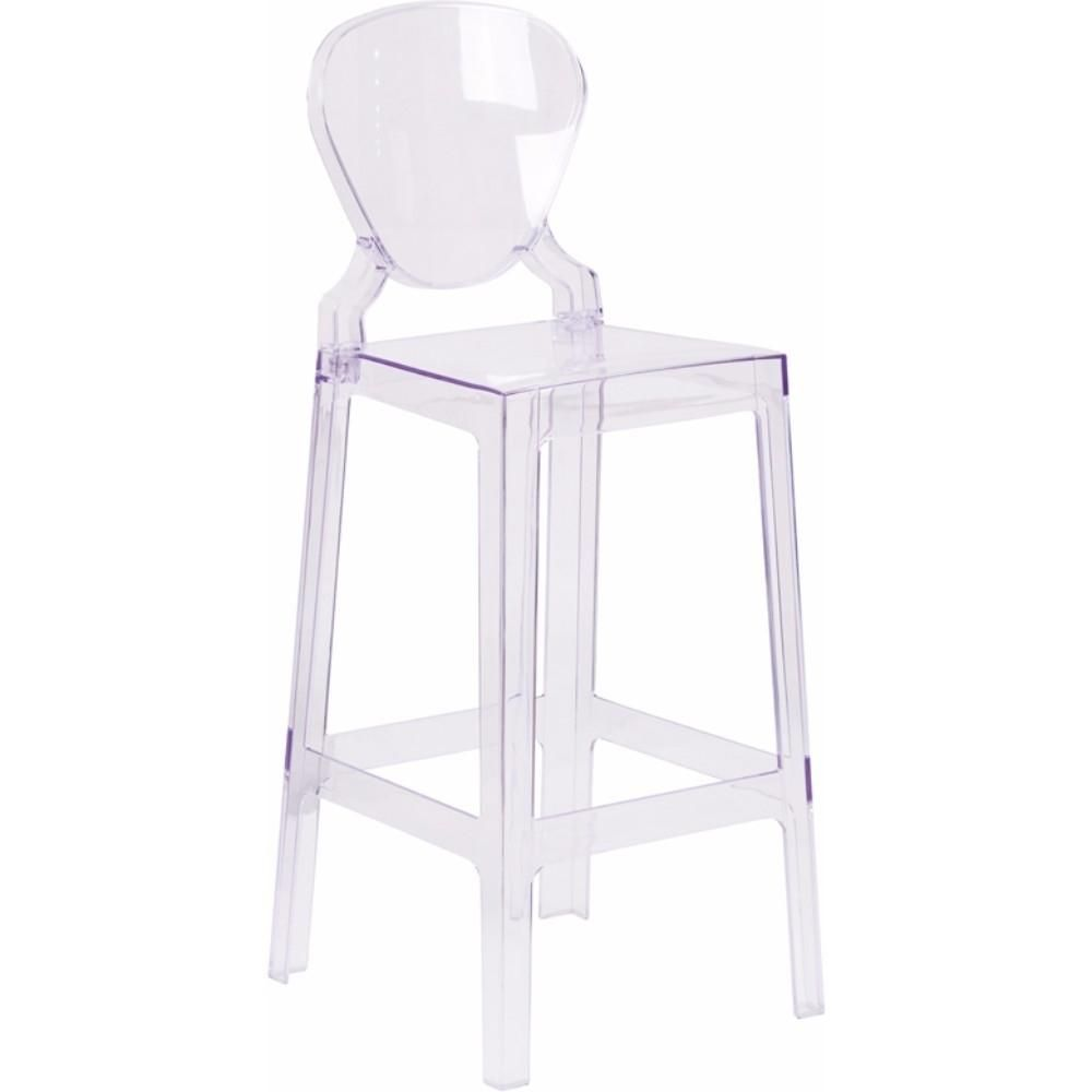 Ghost Barstool in Transparent Crystal with Tear Back [OW-TEARBACK-29-GG]