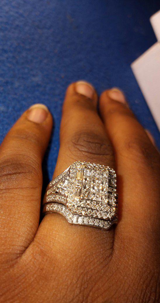 Halo Set, Princess Cut Wedding Ring.