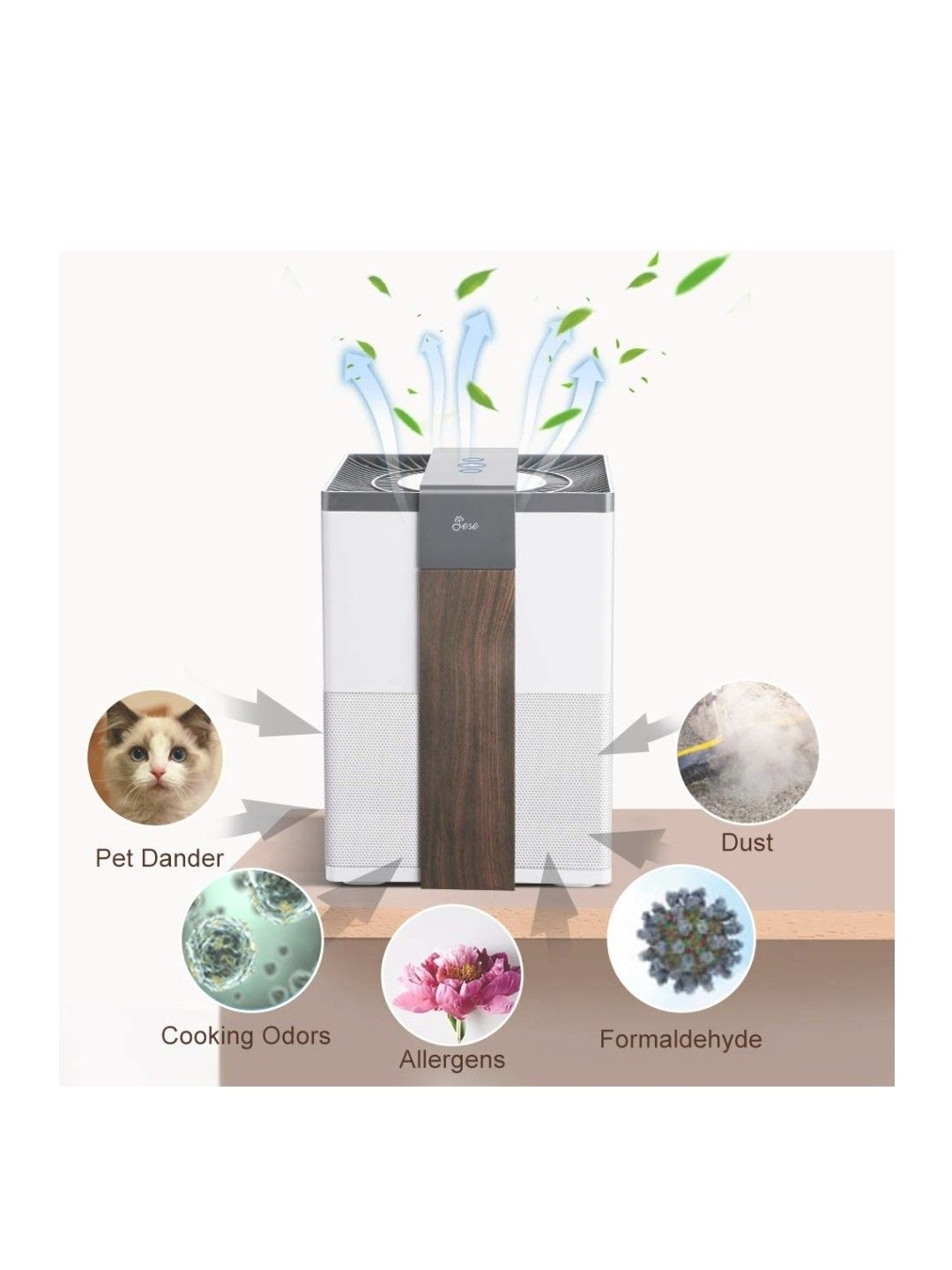Jese Air Purifier,3 Stage Filtration System with True HEPA Air Filter for Home Allergies, Air Cleaner Remove Formaldehyde with Charcoal Cloth Filter