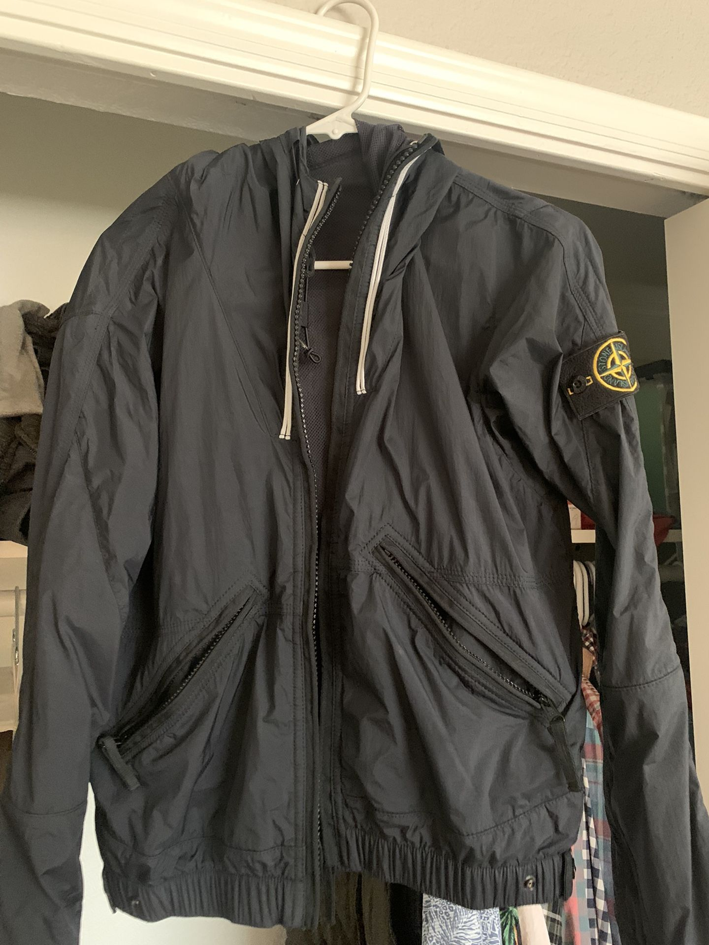Stone Island Water Proof Jacket With Hood- Size Small