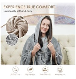Wearable Electric Blanket, Portable Poncho Wrap, Cordless Rechargeable Heated Shawl Blanket, Super Soft & Warm Fleece, Home Office & Travel Use, Machi Thumbnail