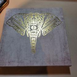 10X10 Canvas Gold Elephant Head Thumbnail