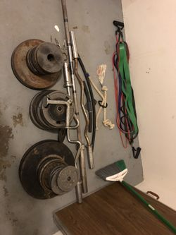 Tall bench rack and weights Thumbnail