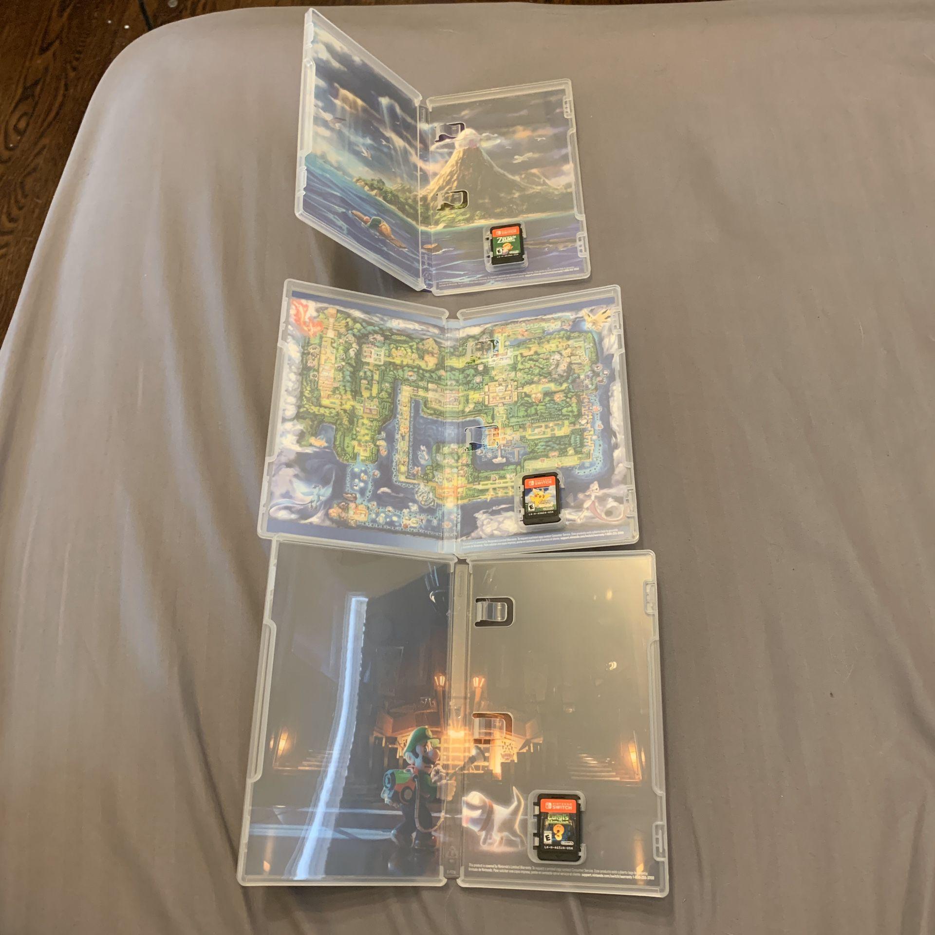 Switch Games - Lets Go Pikachu - Links Awakening - Luigis Mansion 3