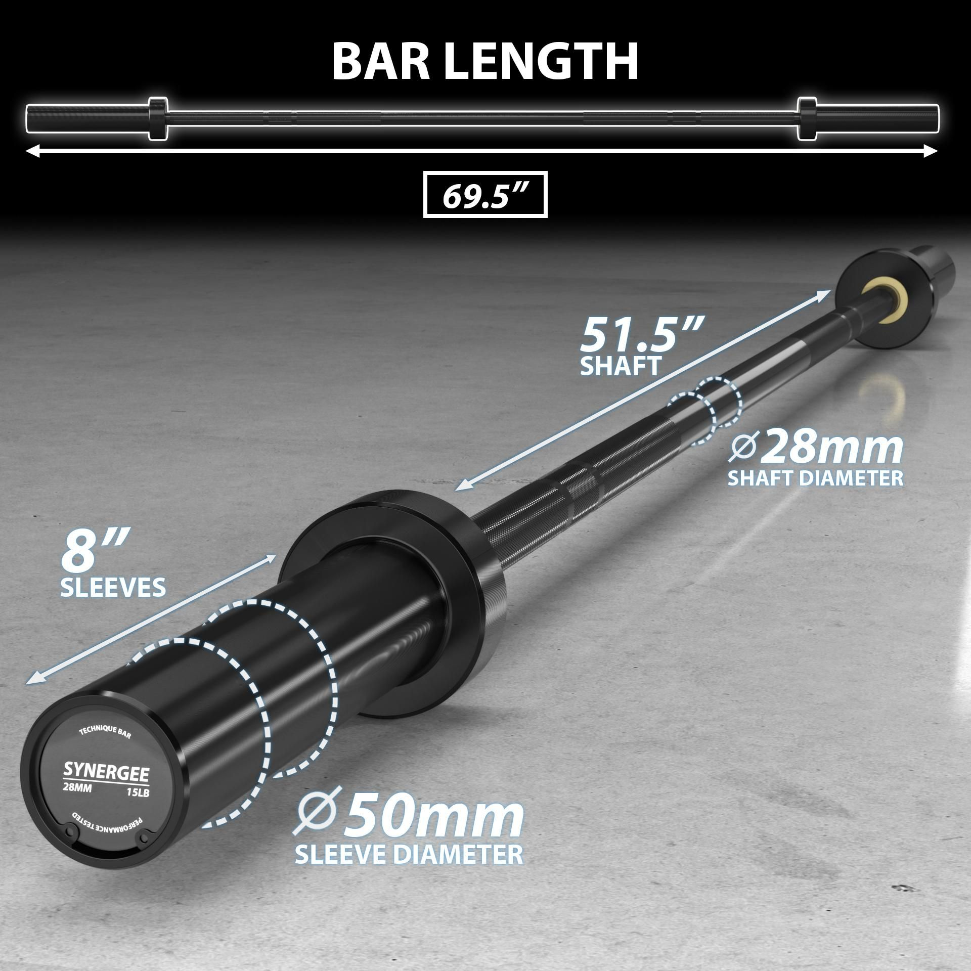 Synergee 15lb Technique Barbell Black Aluminum Bar for Form & Technique Training for Power & Olympic Lifting.