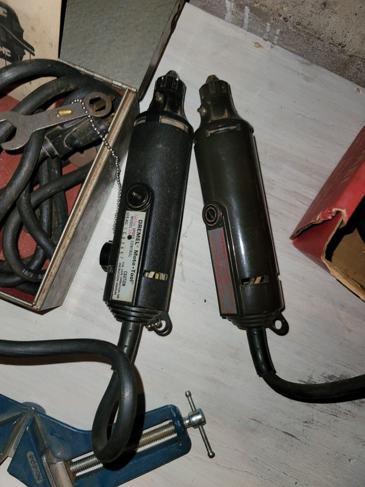 2 Dremel Tools And Vise And Attachments