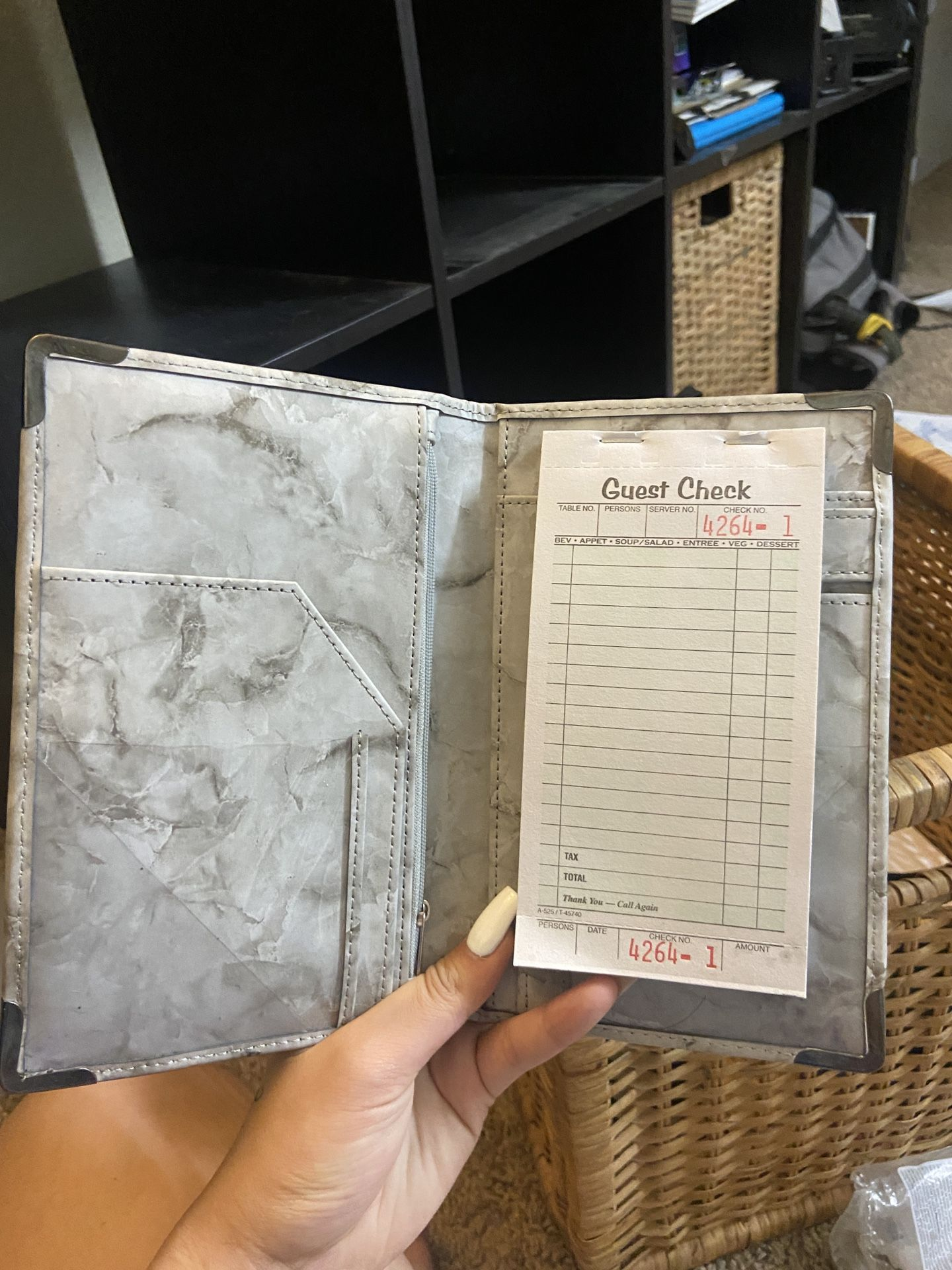 Marble Servers Check Book With Coin Pouch And 5 Free Note Pads