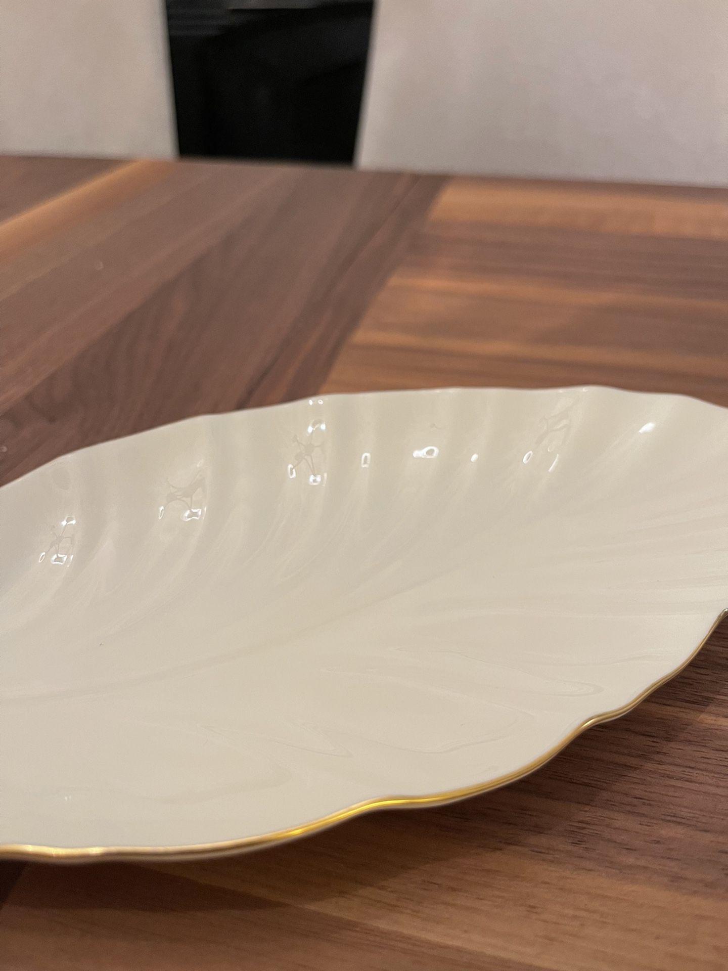 Lenox Ivory Gold Rimmed Leaf Shaped Candy or Trinket Dish