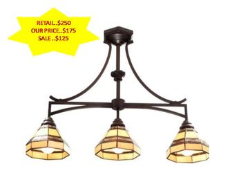 Addison 3-Light Oil Rubbed Bronze Kitchen Island Light with Tiffany Style Stained Glass Shades NEW Thumbnail