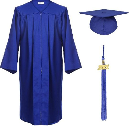 Unisex Adult Matte Graduation Cap and Gown with Tassel Year Charm
