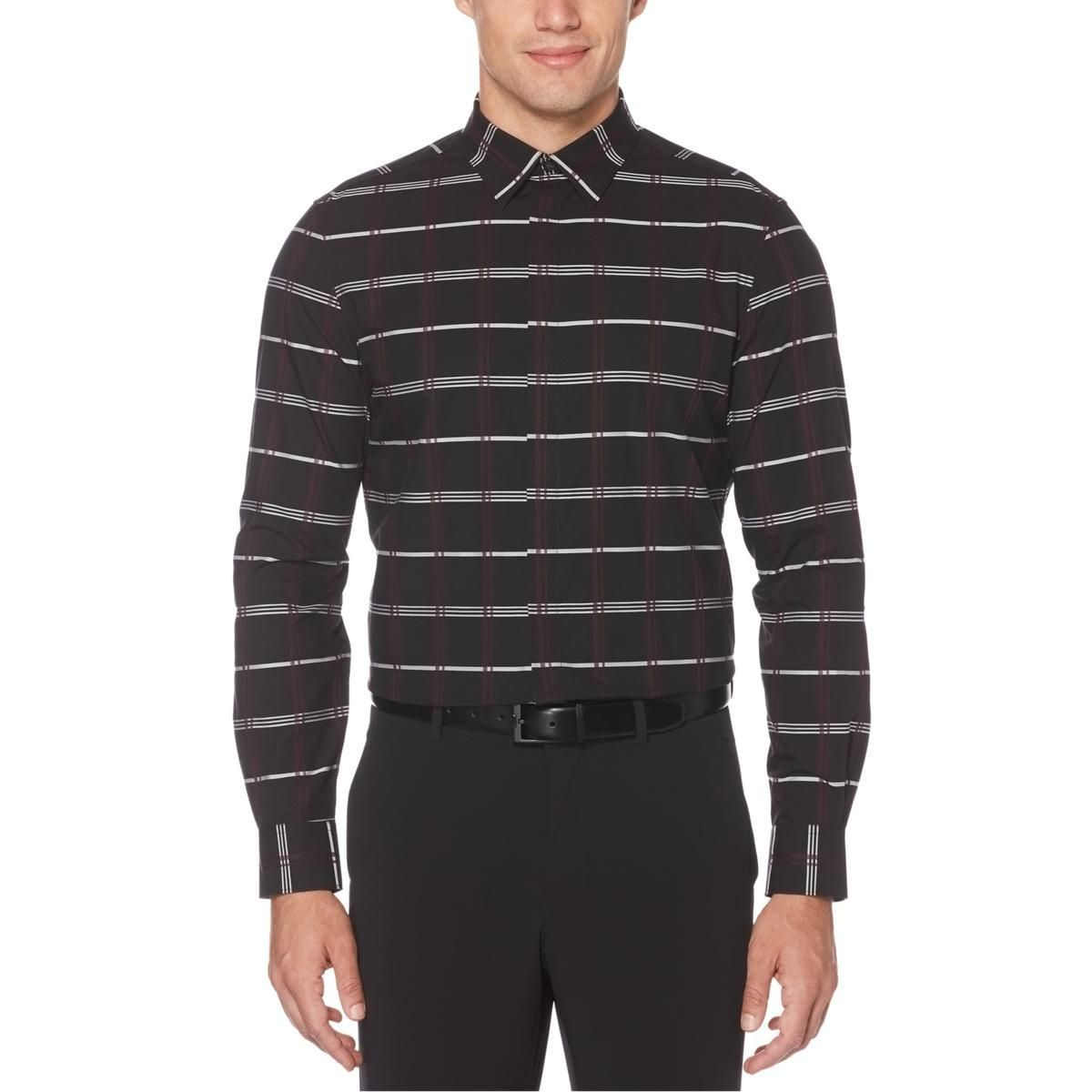 Perry Ellis Mens Button-Front Black Size Extra Large