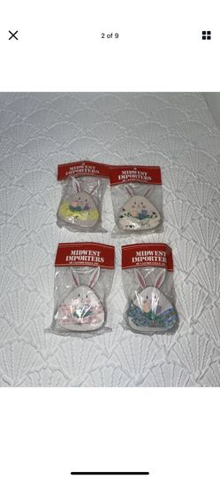 VTG Midwest Importers Of Canon Falls Wood Bunnies Ornaments Easter Like New Set of 6 Made in Taiwan!  3 matching sets!  Thumbnail