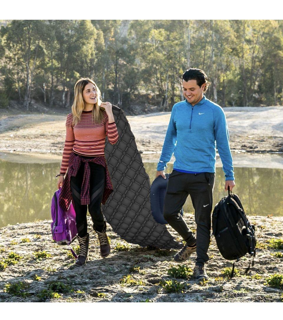 HiHiker Camping Sleeping Pad– Ultralight Backpacking Air Mattress w/Compact Carrying Bag –Sleeping Mat for Hiking Traveling & Outdoor Activities. (Gra