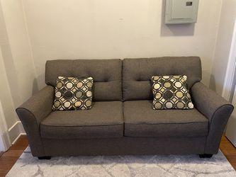 Grey Sofa+Fold out Mattress Thumbnail