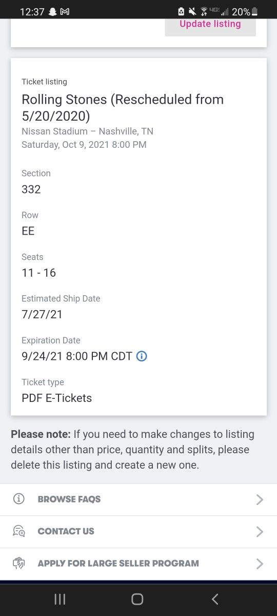 Rolling Stones Nissan Center 4 tickets