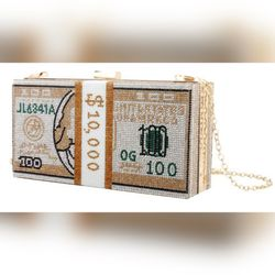 Women's Gold Bedazzled & Pearls Crossbody/Clutch Gold Chain Money Bag Thumbnail