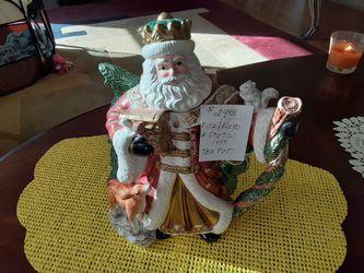 VINTAGE Fitz And Floyd Santa  Tea Pot  1995 Thumbnail