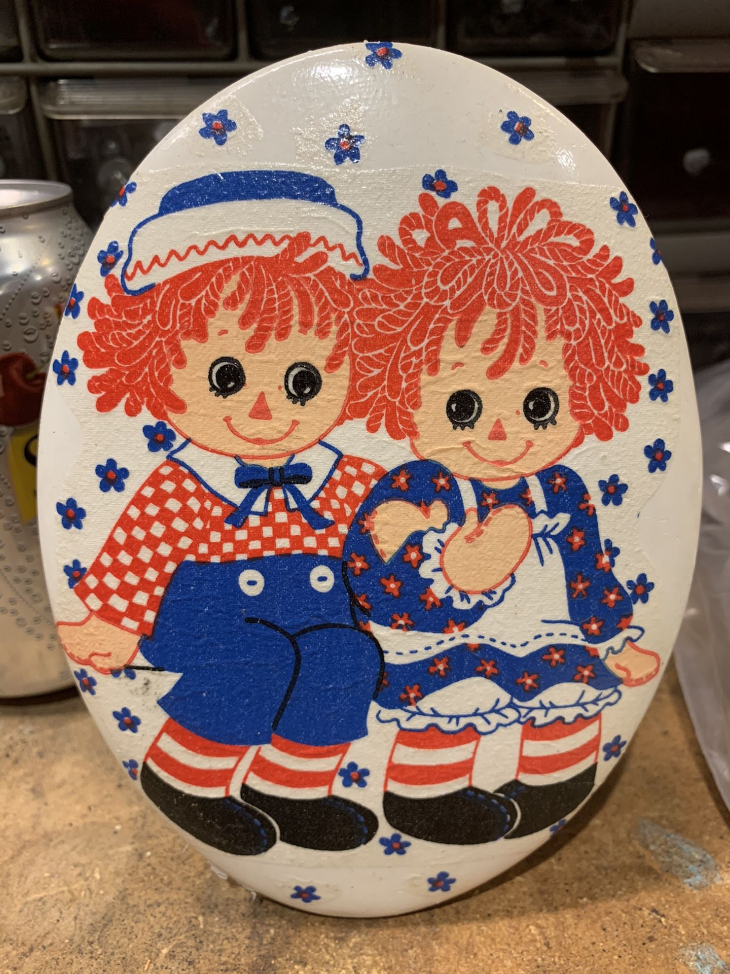 Raggedy Ann and Andy Plaster Wall Hanging