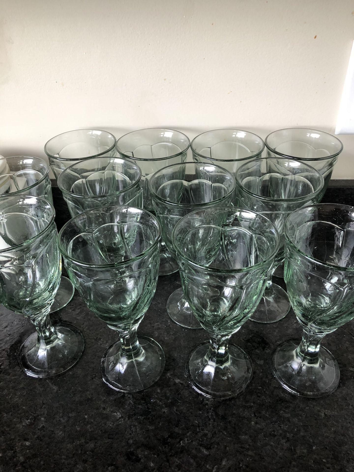 Light Green Sweet Swirl Iced Tea Goblets set of 12 by Noritake
